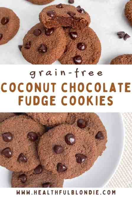 BEST ever fudgy chocolate chip coconut cookies. Made gluten free, grain free, paleo, refined sugar free, and low carb. Recipe by Healthful Blondie.