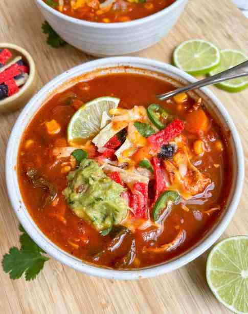 30-Minute Chicken Soup with tortilla on top