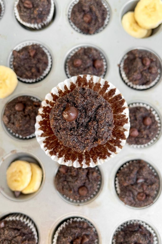 Moist, fluffy, and simple chocolate banana muffins.