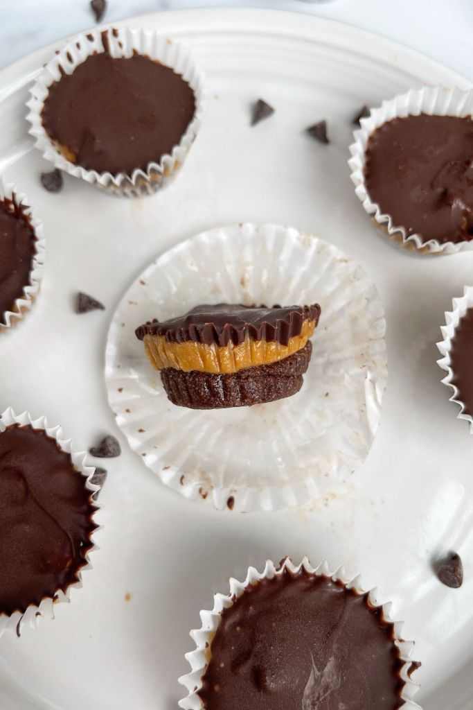 chocolate shortbread base, peanut butter middle, chocolate top