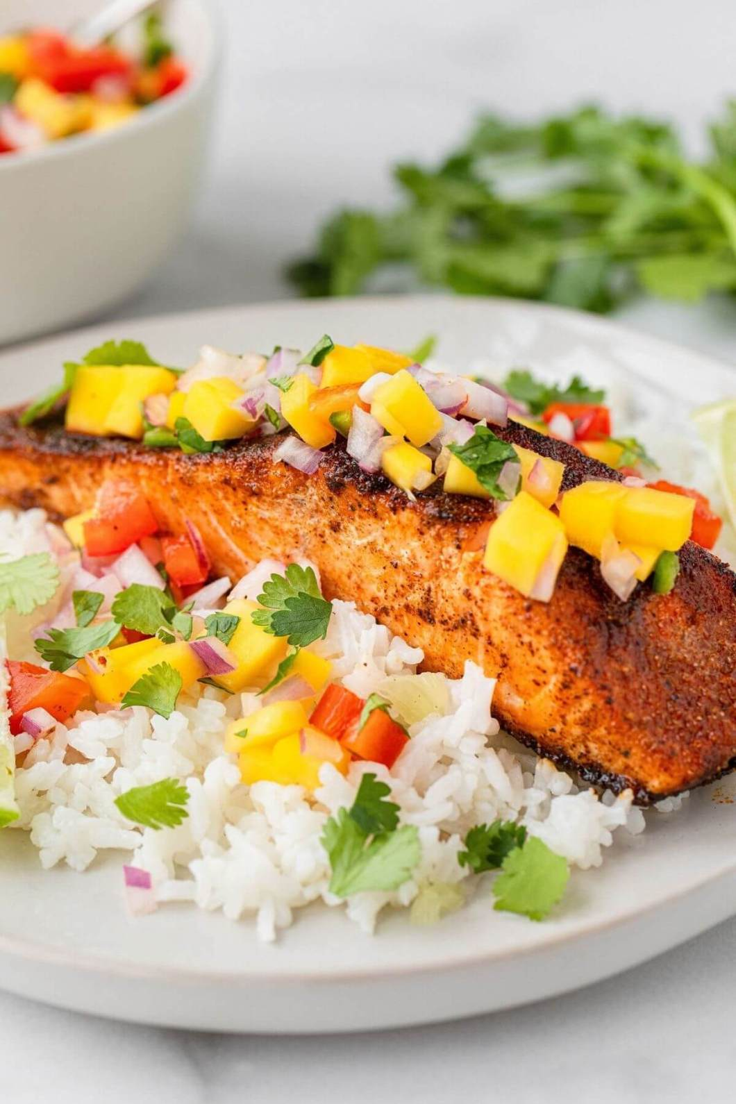 healthy air fryer blackened salmon with fresh mango salsa and rice