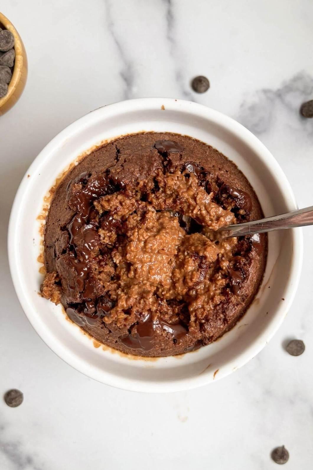 soft cake inside of chocolate baked oats