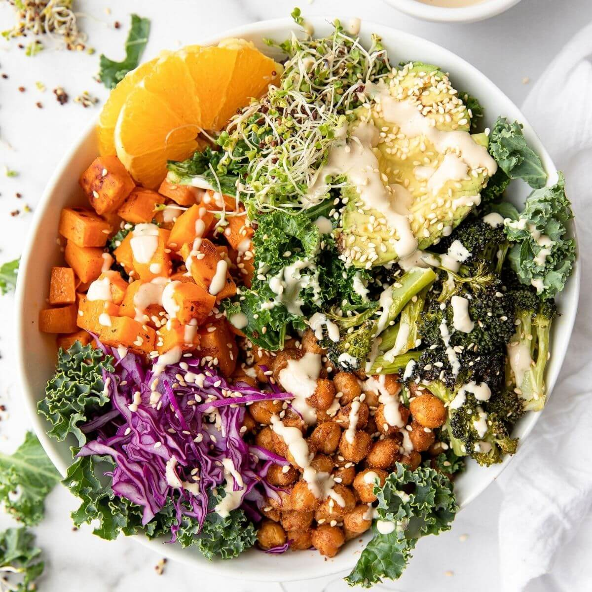 Easy chickpea and sweet potato buddha bowl with tahini dressing