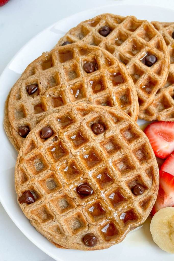 Vegan chocolate chip oatmeal waffles