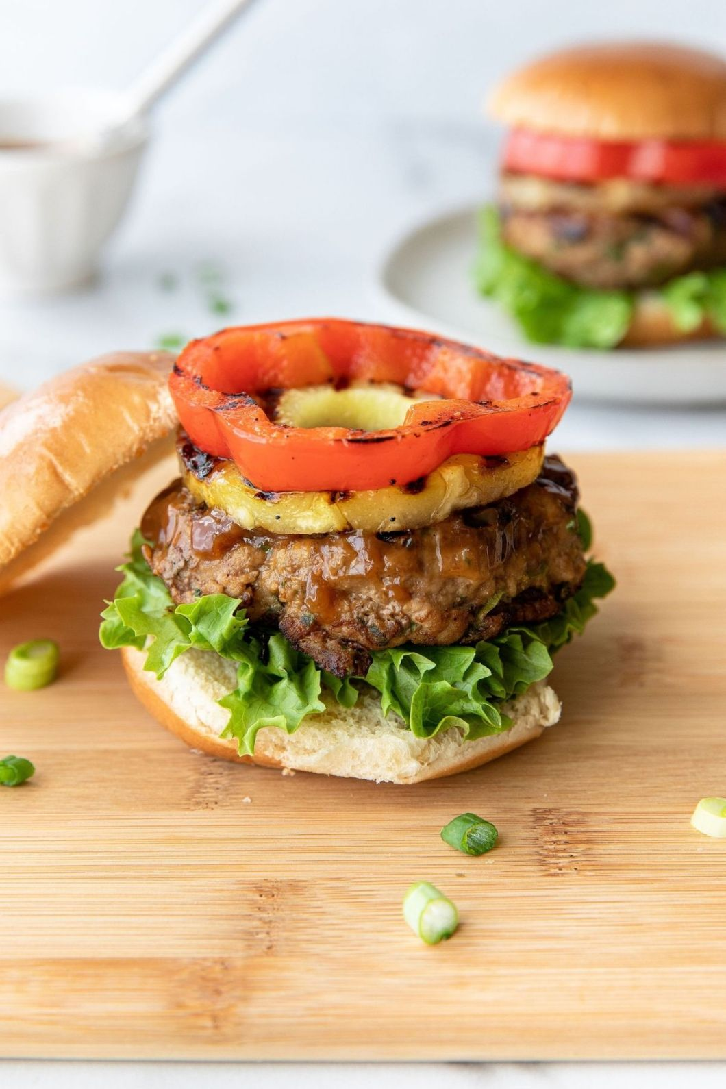Grilled paleo teriyaki turkey burgers with pineapple and red bell pepper