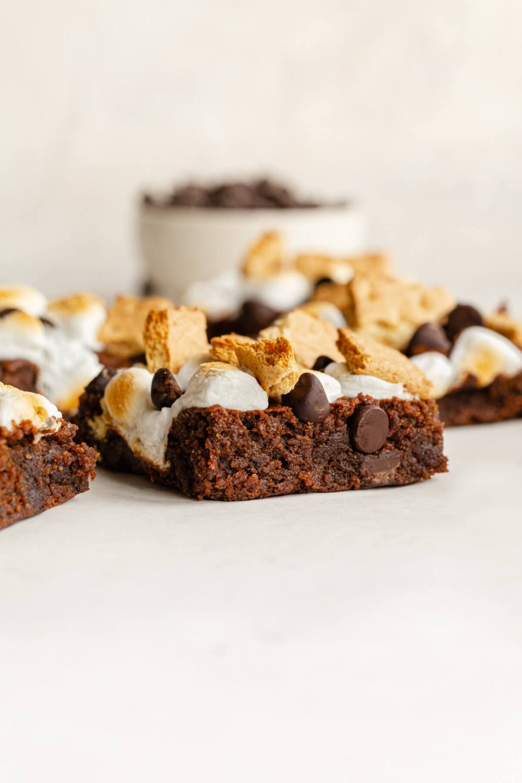 inside shot of heathy almond flour s'mores brownies