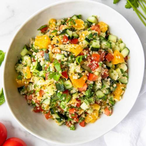 healthy citrus tabbouleh salad with oranges and bulgur wheat