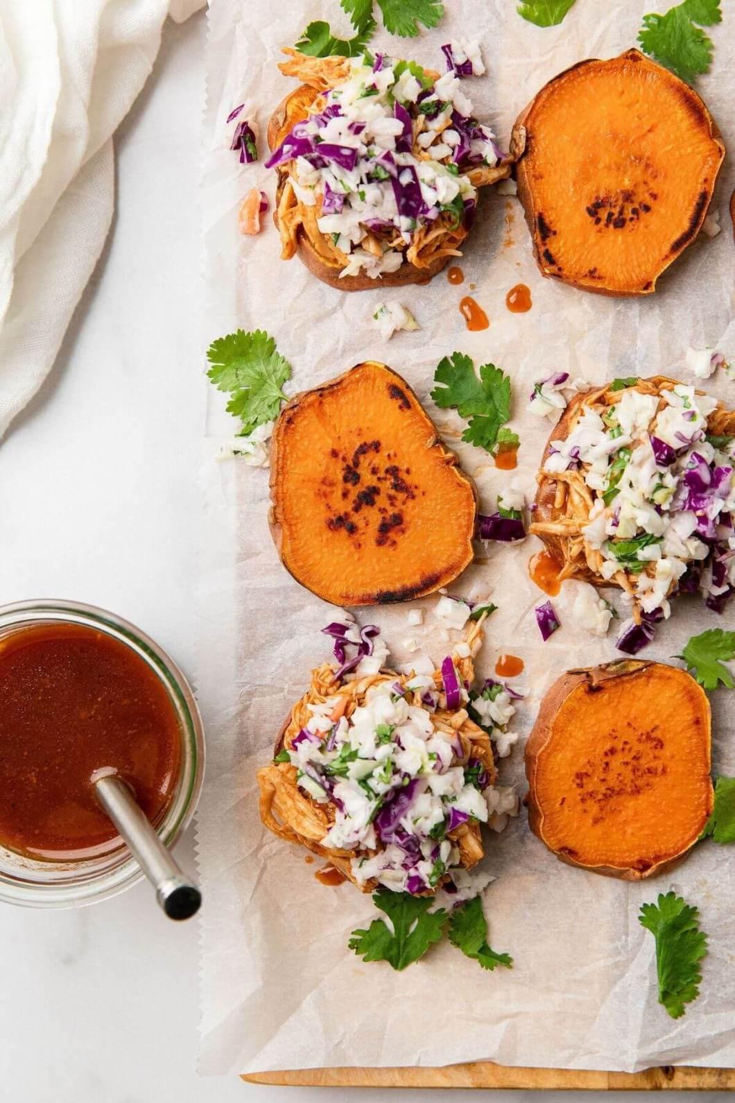 how to make bbq chicken sweet potato sliders