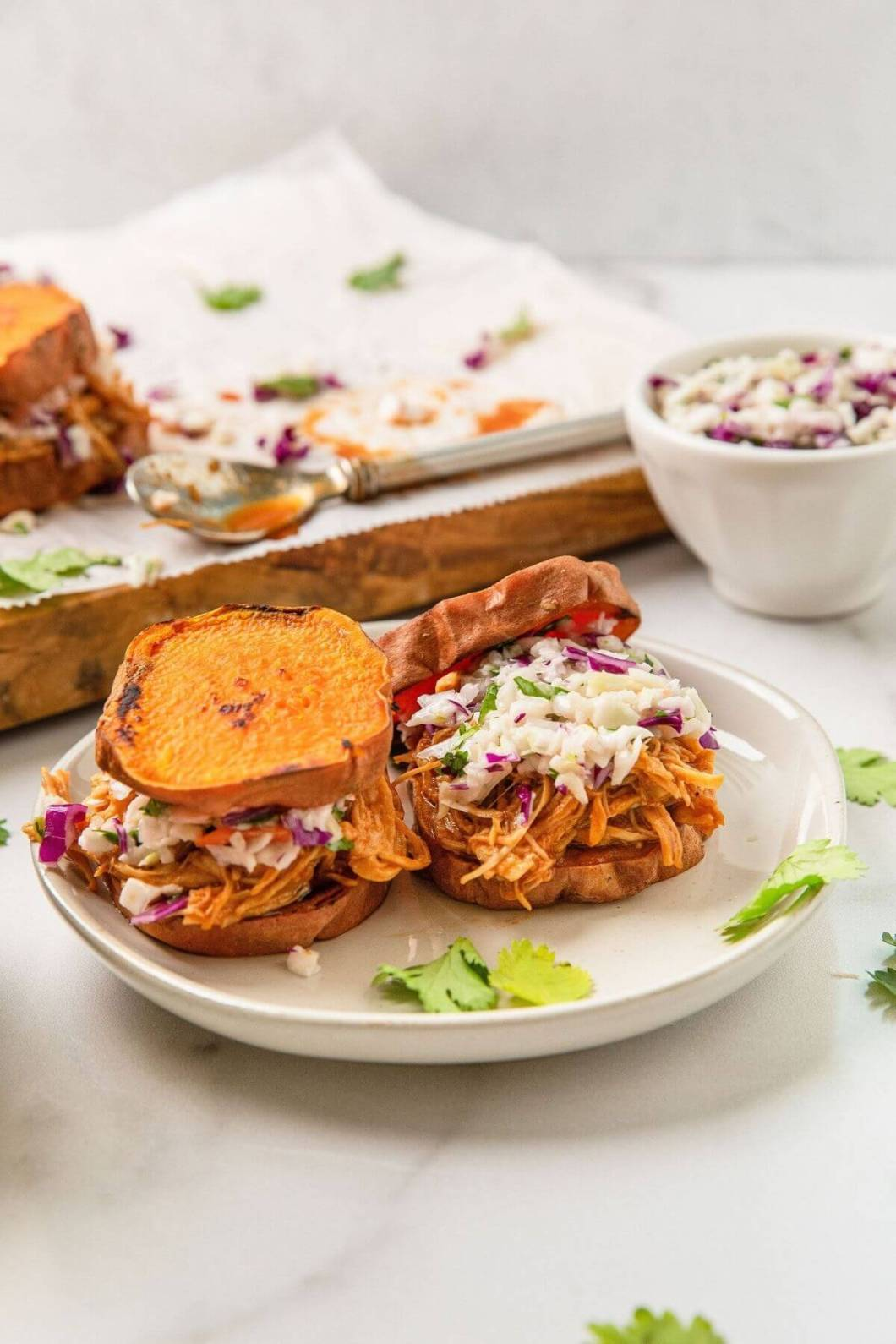 shredded BBQ chicken on sweet potato buns