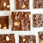 healthy dark chocolate peanut bark made with 3 ingredients