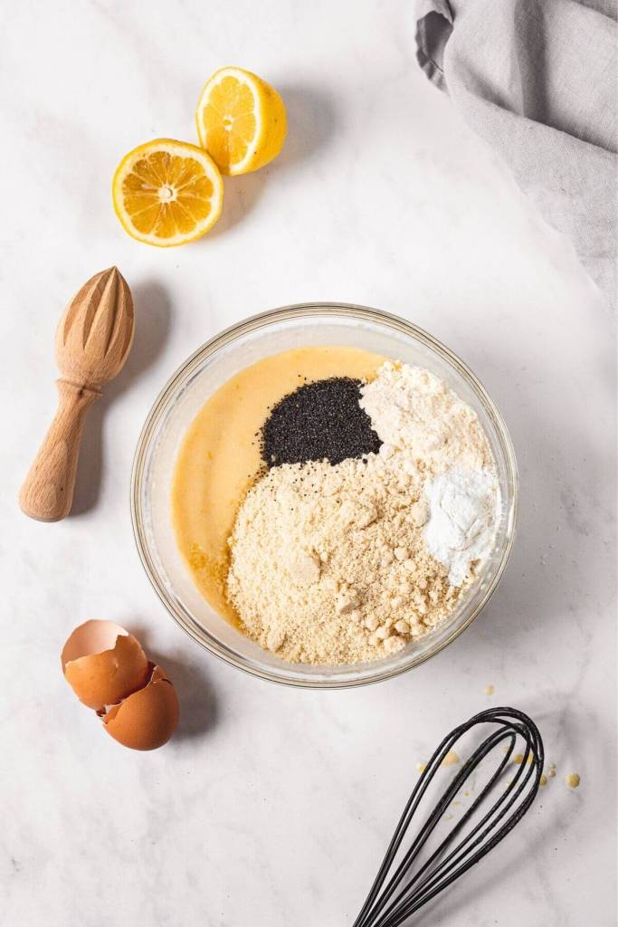 step 2 in healthy lemon poppy seed cake