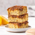 Super moist and light healthy lemon poppy seed crumb cake recipe