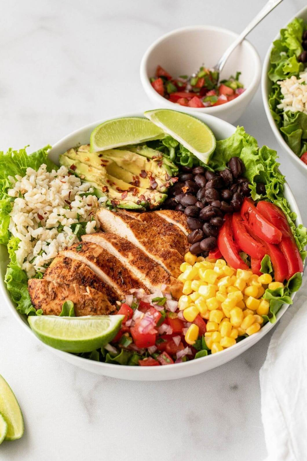 pan sear chicken burrito bowl with cilantro lime brown rice and homemade dressing