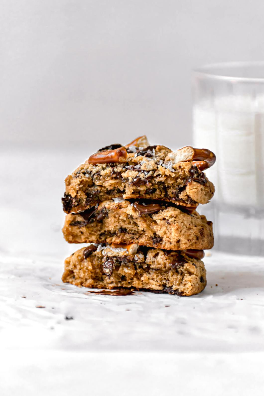 inside gooey and soft shot of salted chocolate chip pretzel cookies