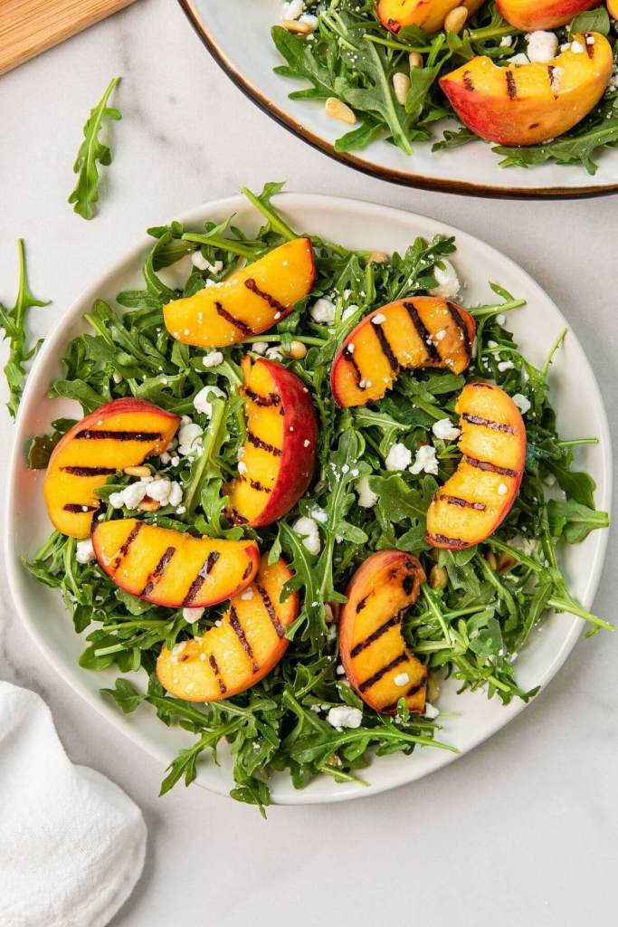 Healthy balsamic grilled peach summer salad