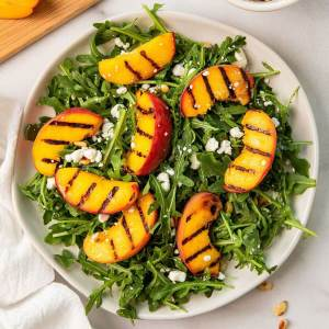 best ever healthy balsamic grilled peach summer salad
