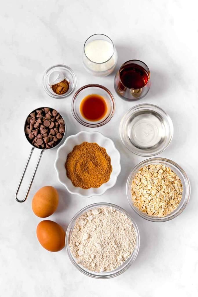 ingredients in healthy moist oatmeal bars