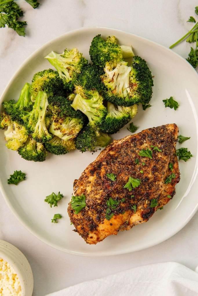 balsamic feta stuffed chicken with roasted broccoli