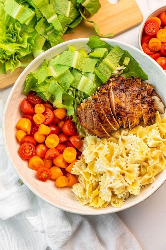 ingredients in healthy chicken caesar pasta salad