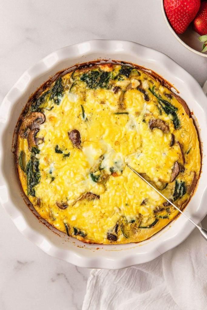 healthy spinach mushroom & feta quiche with sweet potato crust