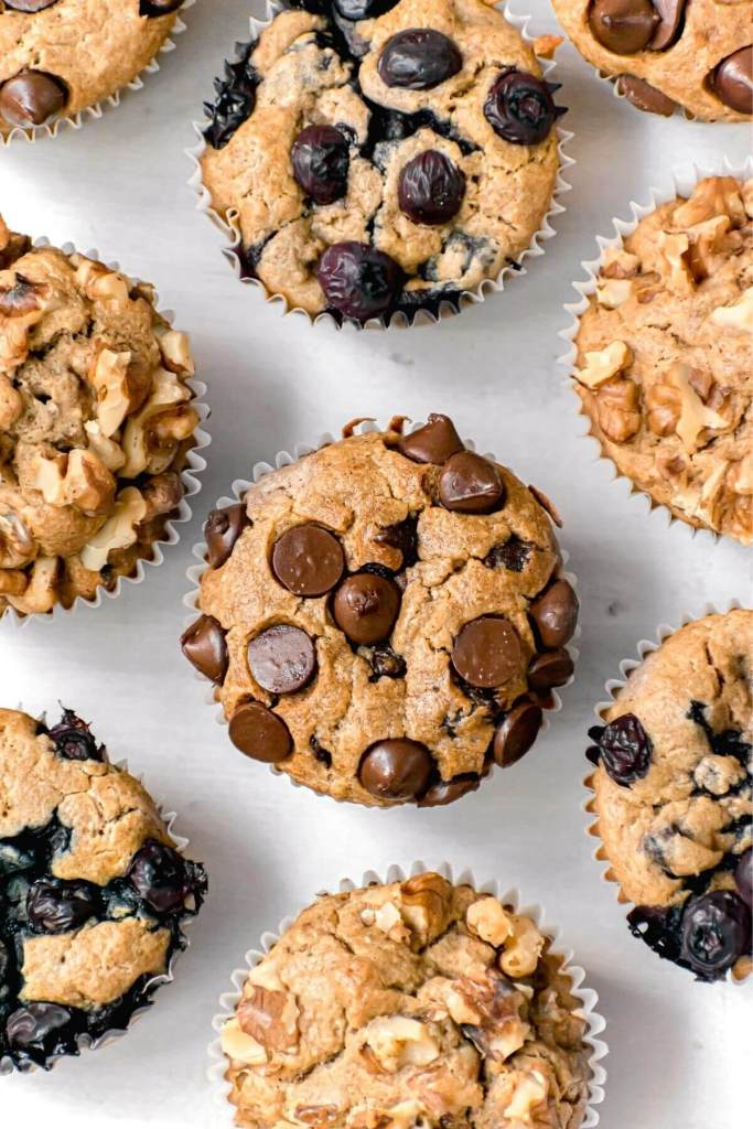 healthy blender oatmeal muffins with three toppings