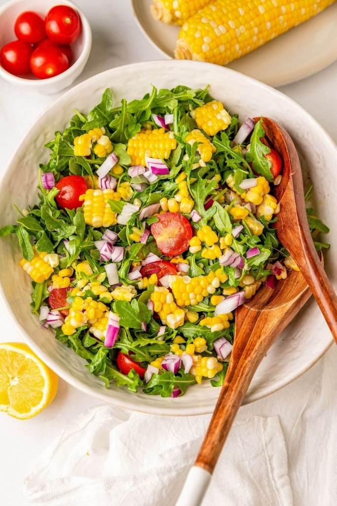 best summer fresh corn, tomato, arugula salad