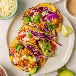 Vegetarian Cauliflower Tacos with Cilantro Yogurt Crema