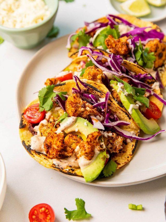 Roasted Cauliflower Tacos with Cilantro Crema