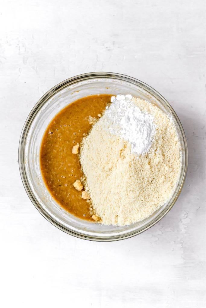 almond flour into peanut butter batter