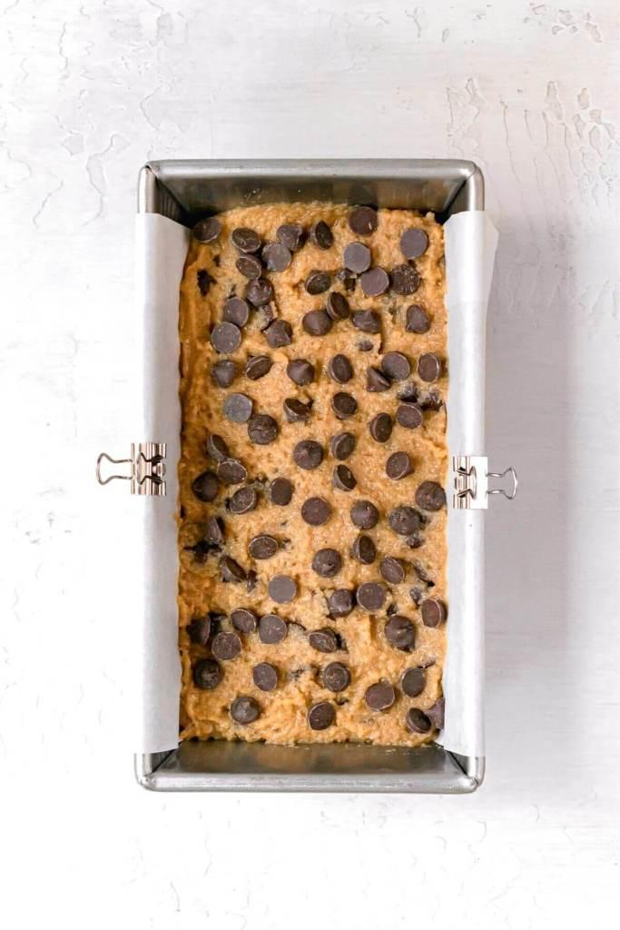 healthy peanut butter bread batter in tin