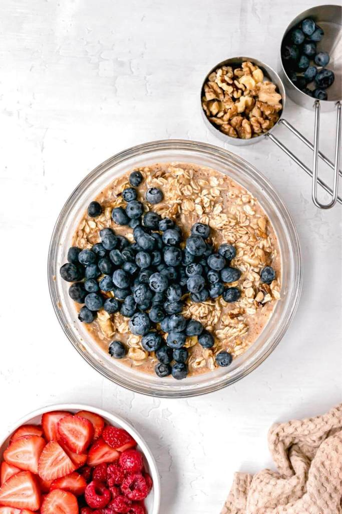 blueberry vegan baked oatmeal ingredients in a bowl