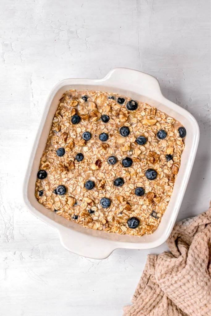 Vegan baked oatmeal in a casserole dish before baking