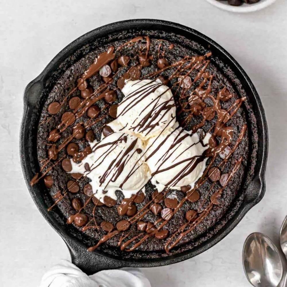 flourless eggless brownie skillet recipe