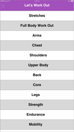 Full workout exercise options