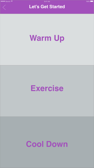 Selection options. Warmup/Exercise/Cool down