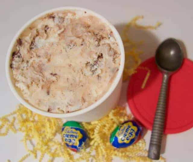 Do you love Cadbury creme eggs? Then you'll love this Homemade Cadbury Egg Ice Cream with a Chocolate Ribbon. Such a great treat for Easter!