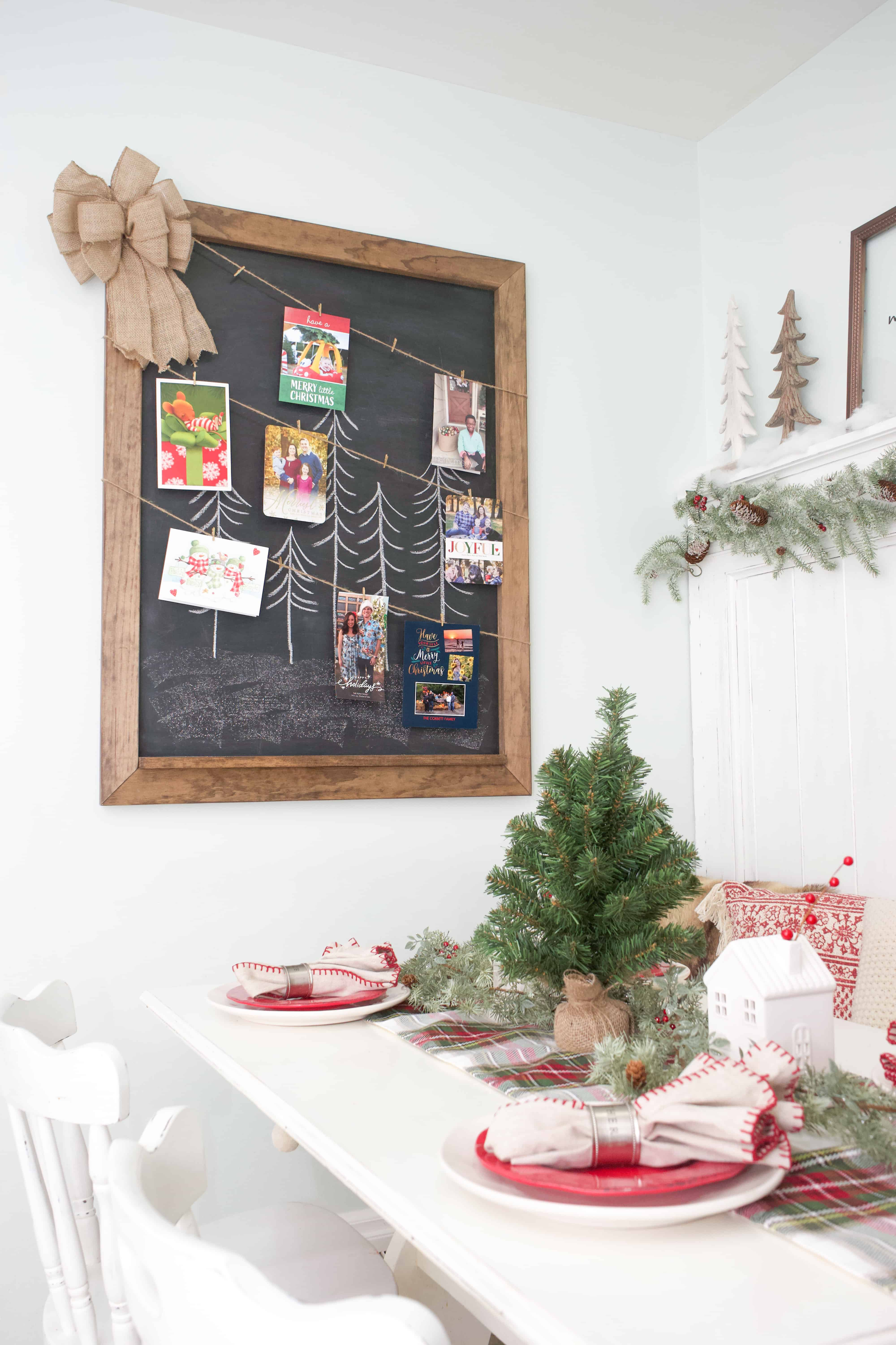 Don't you just love getting Christmas cards in the mail? Here's a super simple way to turn any large wall hanging into a fabulous Christmas card display.