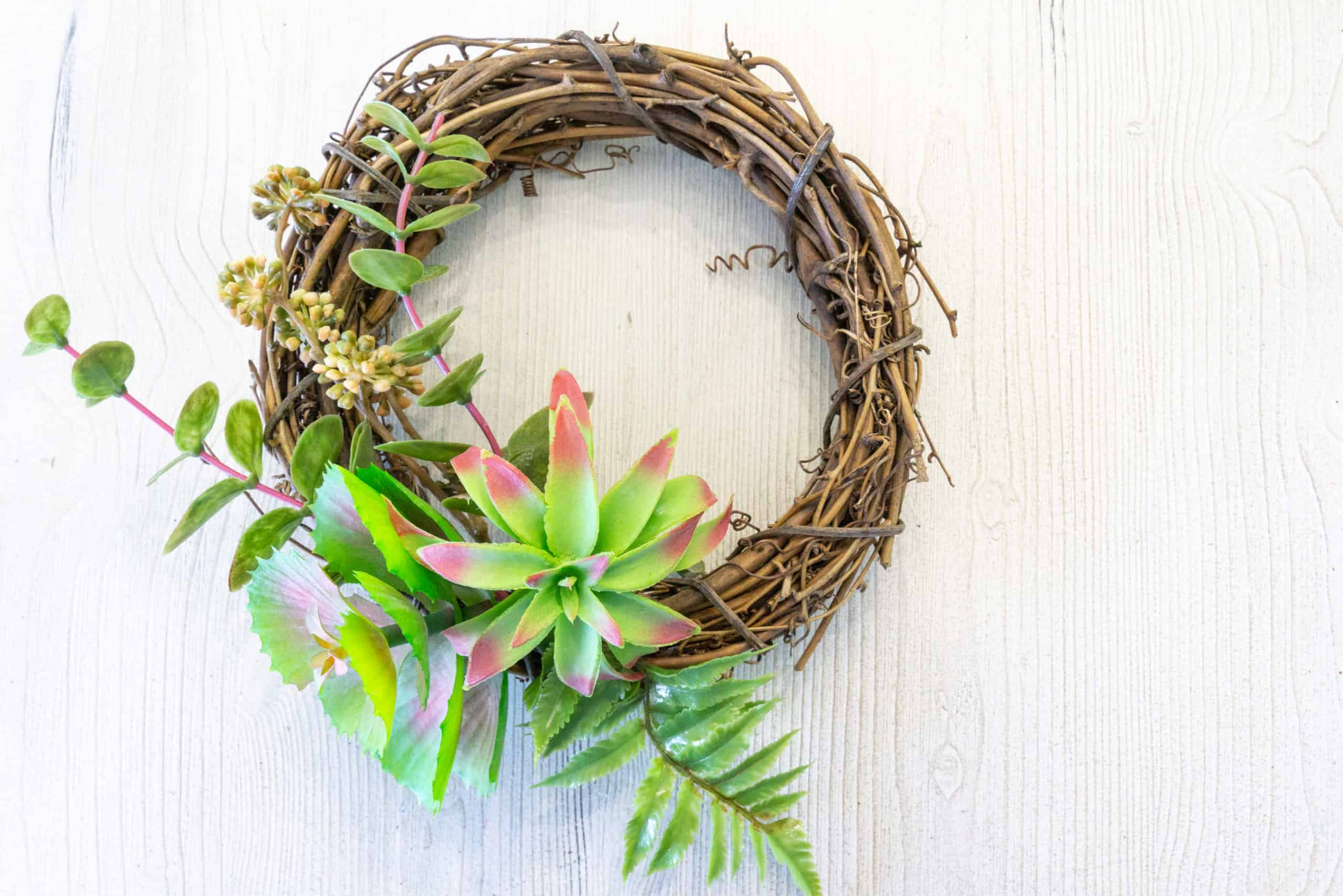 Here is a tutorial for the easiest (and possibly cheapest) DIY succulent wreath ever.