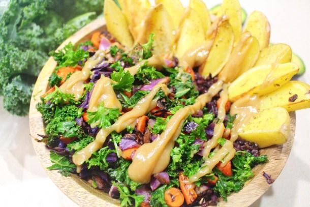 Black Rice & Veggie Bowl with Sweet Lemon Tahini