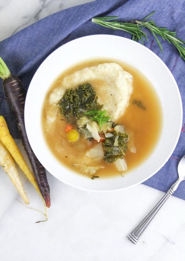 Winter Vegetable Soup & Cauliflower Parsnip Puree