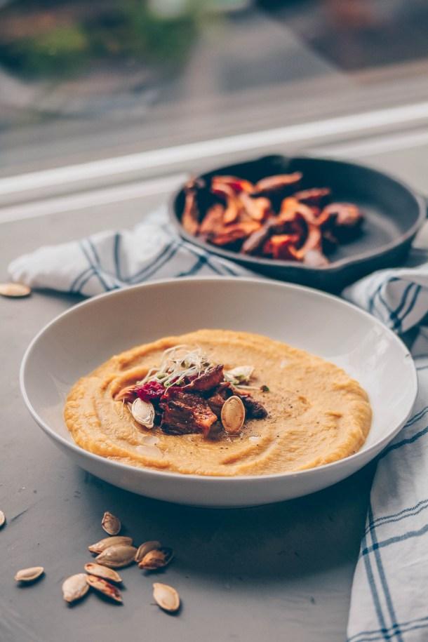 Creamy Acorn Squash Soup & Crispy Oyster Mushrooms