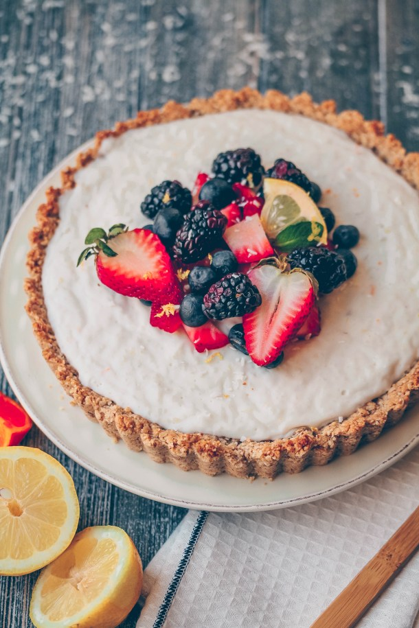 Healthy Coconut Berry Shortbread Tart | Vegan & Gluten-free