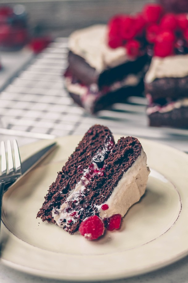 Dark Chocolate Raspberry Cake With Cashew Cream Frosting