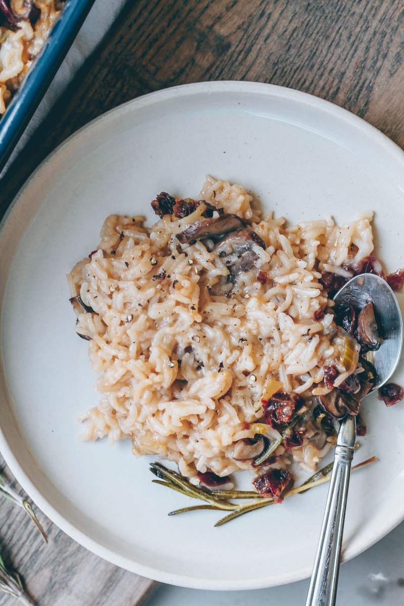 Baked Mushroom Risotto with Rosemary & Dried Cranberries
