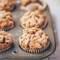 Healthy Rhubarb Muffins | Sweetened with dates!