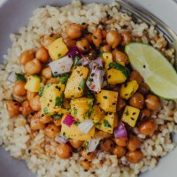 Cilantro Lime Glazed Chickpeas with Mango Salsa