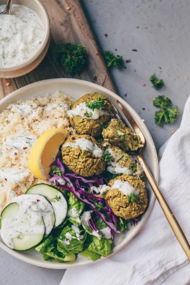 vegan falafel bowl with tzatziki sauce