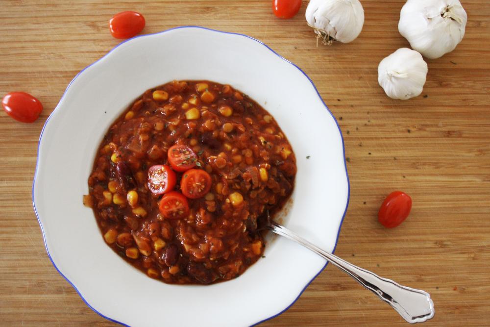 vegetarisches Chili con Carne aus Linsen