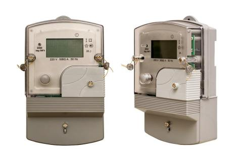 Electric meter. Metering of electricity. Isolated. White background.