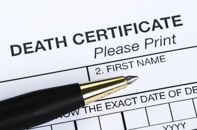 This is a closeup view of the Death certificate